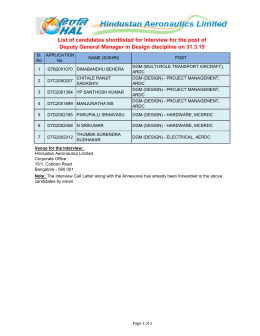 List of candidates shortlisted for Interview for the post of Deputy