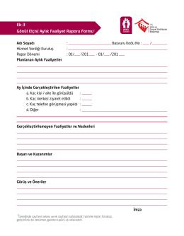 Gönül Elçisi Aylık Faaliyet Raporu Formunu