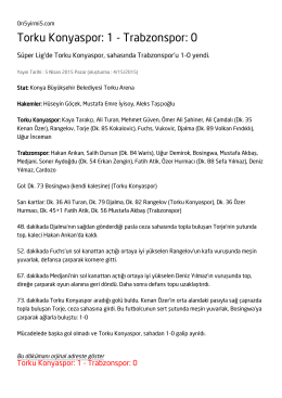 Torku Konyaspor: 1 - Trabzonspor: 0