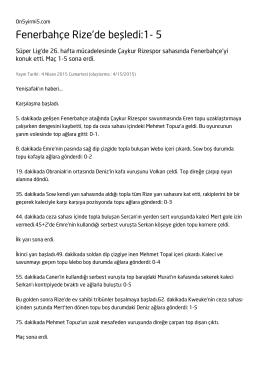 Fenerbahçe Rize`de beşledi:1- 5