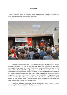 BASIN BÜLTENİ Selçuk Üniversitesi Akören Ali Rıza Ercan Meslek