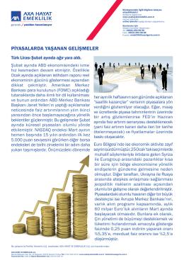 Piyasalarda Yaşanan Gelişmeler - Mart 2015