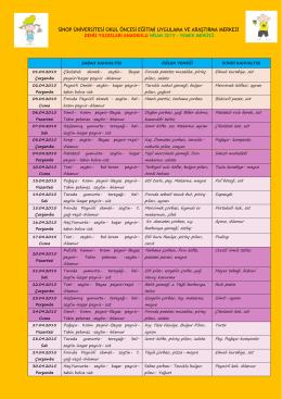 Aylık Yemek Listesini Kaydetmek İçin Tıklayınız..