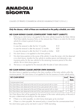 clauses of private/commercial vehicles insurance