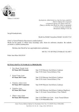 KUTSAL HAFTA VE PASKALYA PROGRAMI (pdf)