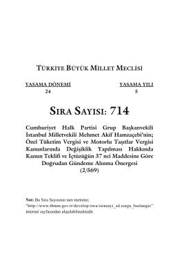 SIRA SAYISI: 714 - Türkiye Büyük Millet Meclisi