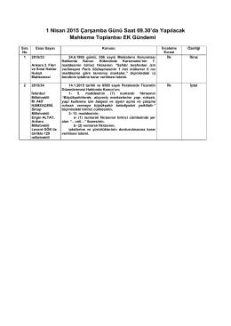 1 Nisan 2015 Çarşamba Günü Saat 09.30`da Yapılacak Mahkeme