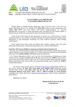 MEKSİKA EXPO CİHAC YAPI FUARI 2015 ÜYE DUYURUSU HK.