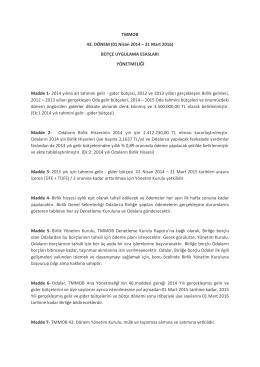TMMOB 43. DÖNEM (01 Nisan 2014 – 31 Mart 2016
