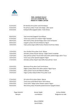 01.04.2015 Etli bezelye-pirinç pilavı-cacık