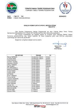 08-10 Nisan 2015 Okullar Türkiye Şampiyonası (Malatya)