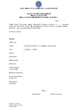 özel firma staj yeri kabul yazısı örneği - İnşaat Mühendisliği