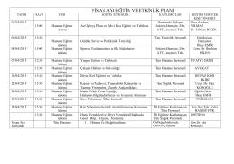 nisan ayı eğitim ve etkinlik planı