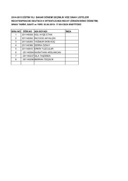 2014-2015 eğitim yılı bahar dönemi seçimlik vize sınav listeleri