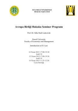 Avrupa Birliği Hukuku Seminer Programı