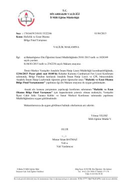 T.C. DİYARBAKIR VALİLİĞİ İl Milli Eğitim Müdürlüğü Sayı