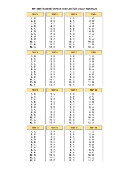 matematik dersi yaprak testleri için cevap anahtarı 1. c 2. b 3. d 4. d