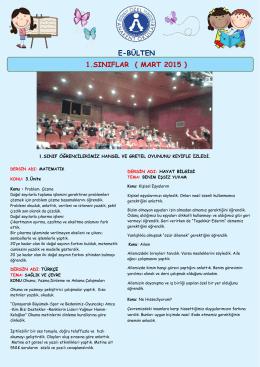 E-BÜLTEN 1.SINIFLAR ( MART 2015 )