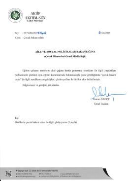 5_Aile ve Sosyal Politikalar Bakanlığına yazılan - Aktif Eğitim-Sen