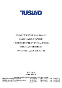 türkiye`de enflasyon dinamikleri: fırsatlar ve ris