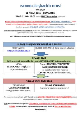 ISL3008 Girişimcilik Dersi Ara Sınav Duyurusu