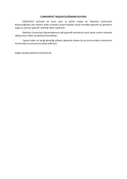 Cumhuriyet Başsavcılığından Güvenlik İle İlgili Duyuru 09.04.2015