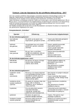 Türkisch: Liste der Operatoren für die schriftliche