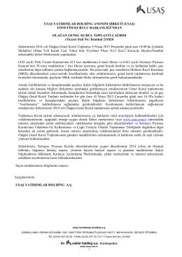 2014 Yılı Olagan Genel Kurul Davet Mektubu