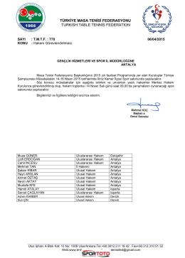 14-16 Nisan 2015 Antalya/Kemer Kurum Kuruluşlar Arası Türkiye