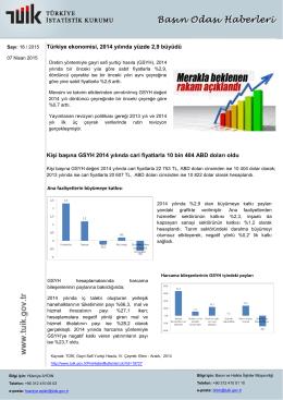 Türkiye ekonomisi, 2014 yılında yüzde 2,9 büyüdü Kişi başına