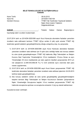 08.04.2015 Karar No : 2015/DK-THD/194 Gündem Konusu : TTN