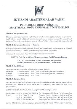 İktisadi Araştırmalar Vakfı Prof. Dr. Orhan Dikmen Araştrıma / Ödül