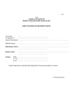 adres değişikliği bildirim formu