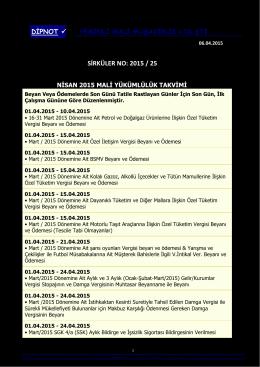 sırk 2015-25 nisan 2015 mali yükümlülük takvimi hk.