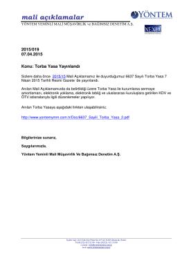2015-019 Torba Yasa Yayınlandı - YÖNTEM Yeminli Mali Müşavirlik