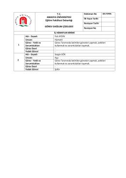 İç Hizmetler Birimi - Amasya Üniversitesi