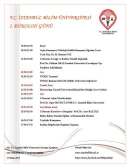 tc istanbul bilim üniversitesi ı. psikoloji günü