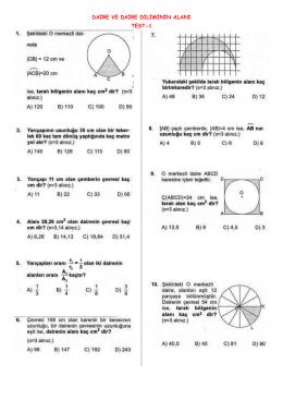 daire ve daire diliminin alanı test-1