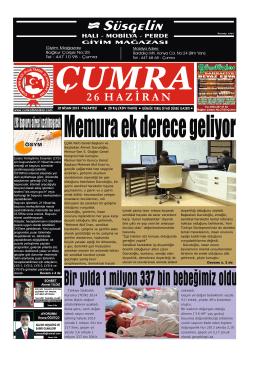 Süsgelin - Çumra 26 Haziran Gazetesi