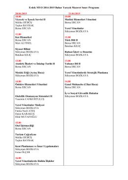 Erdek MYO 2014-2015 Bahar Yarıyılı Mazeret Sınav Programı 20.04