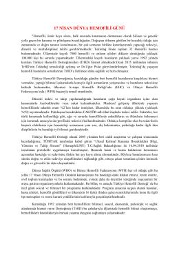 17 nisan dünya hemofili günü - Tekirdağ Halk Sağlığı Müdürlüğü