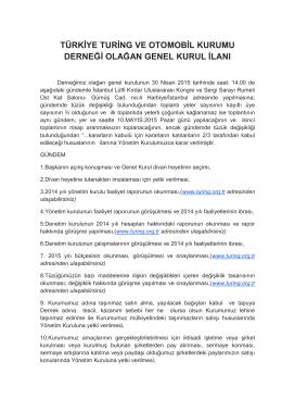 1. 2015 genel kurul daveti - Türkiye Turing ve Otomobil Kurumu
