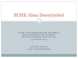 ECHE sahibi bir kurumun başvuru sürecine ait tecrübeleri