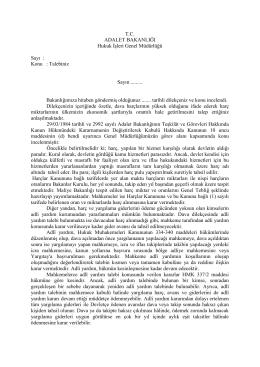 Dava Harçlarıyla İlgili Talep - Hukuk İşleri Genel Müdürlüğü