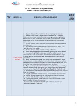 VIII Bölge Müdürlüklüğü (Diyarbakır) Hizmet Standartları Tablosu