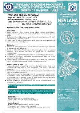 mevlana değişim programı - Adnan Menderes Üniversitesi