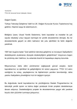 Yönetim Kurulu Başkanı Sn.Cengiz Ultav`ın Kurucular Kurulu açılış