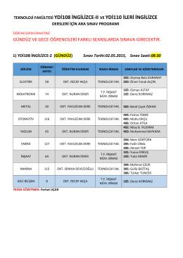 2014-2015 Bahar Dönemi YDİ108 İngilizce II ve YDİ110 İleri