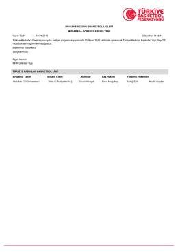2014-2015 SEZONU BASKETBOL LİGLERİ MÜSABAKA