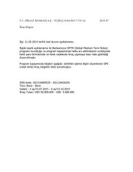 14.04.2015 GMTN Programı Dahilinde İhraç Belgesi Düzenlenen